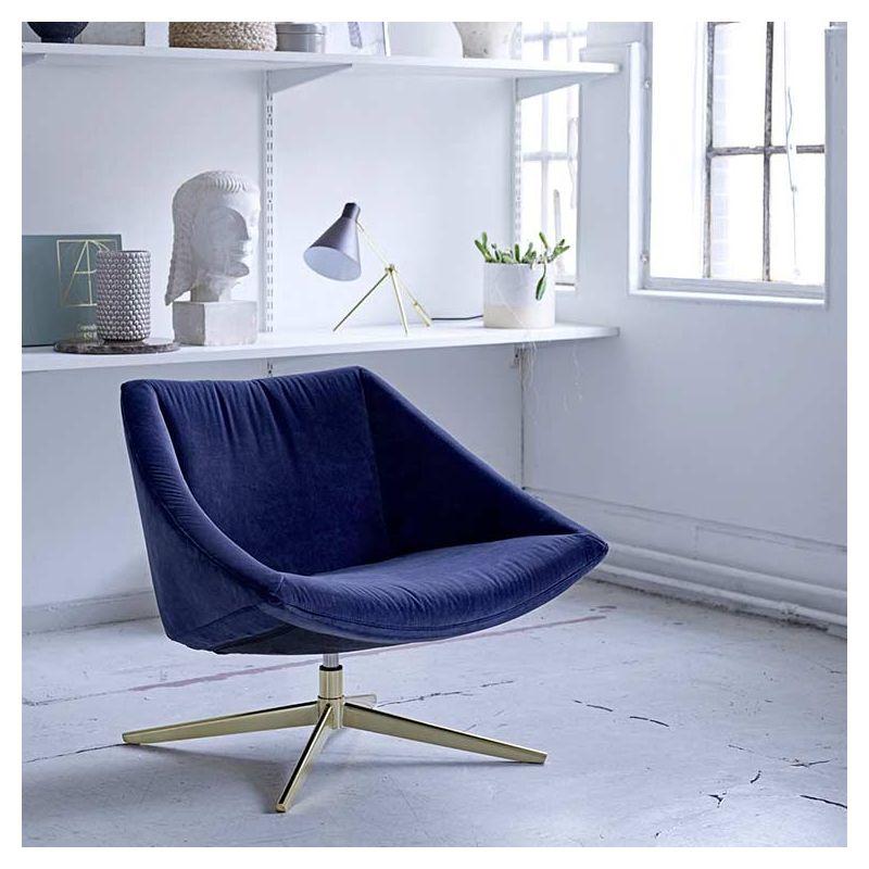 Elegant Fauteuil Velours Bleu Pied Or Bloomingville