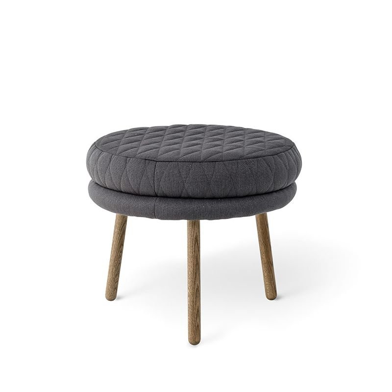 kind tabouret rond gris pieds bois bloomingville. Black Bedroom Furniture Sets. Home Design Ideas