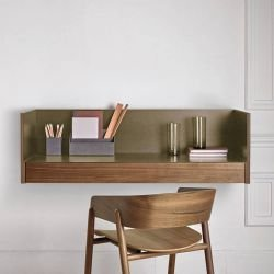 Bureau mural finitions noyer super mat & bronze STOCKHOLM Punt