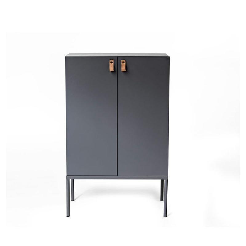 Cute cabinet rangement 2 portes gris bloomingville for Petit meuble de salon