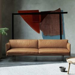 Canapé 3 places cuir cognac OUTLINE Muuto