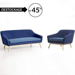 Salon bleu canapé + fauteuil PEPPY Woud