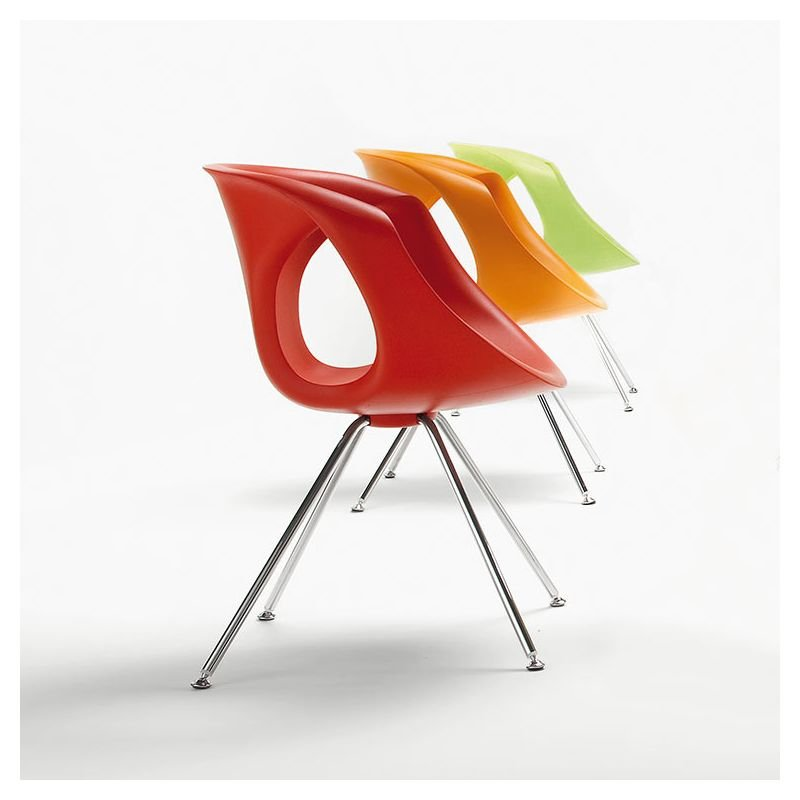 Chaise Pieds Mtal UP CHAIR Tonon Coloris Rouge Orange Et Vert