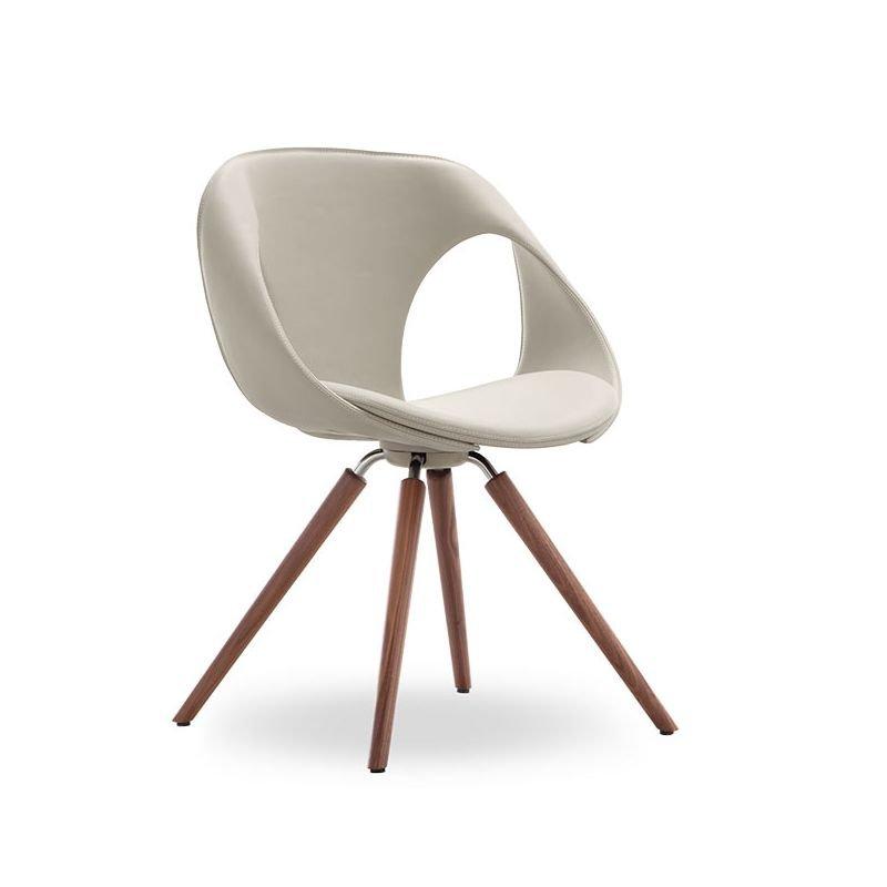 Up chair 31 chaise design cuir bois rembourr e tonon for Chaise sejour cuir