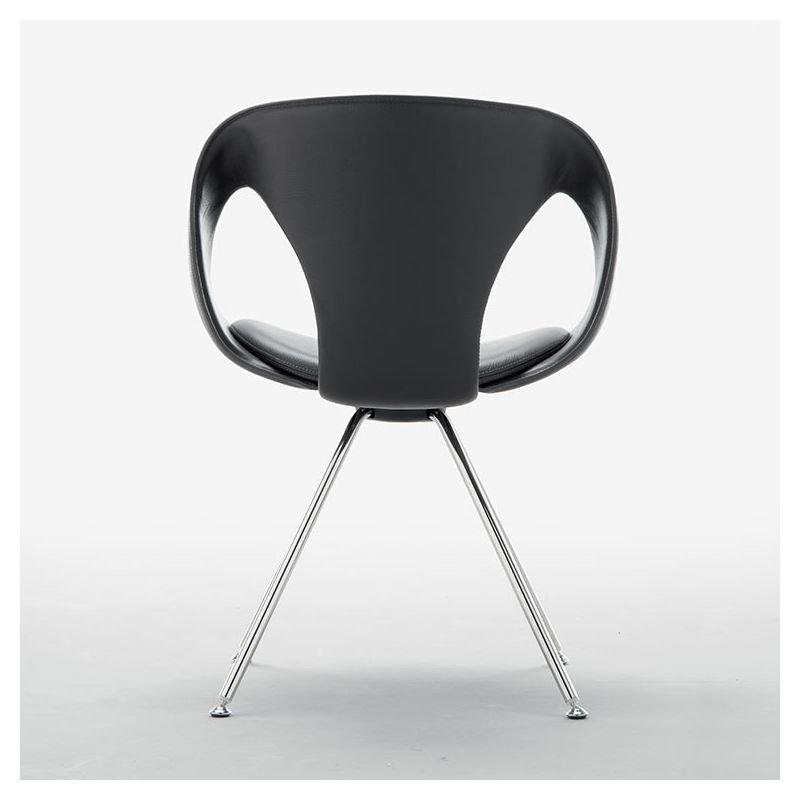 Chaise design rembourrée pieds métal up chair tonon modèle fixe assise cuir coloris noir