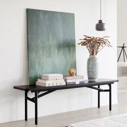Banc contemporain DIAGONAL en bois coloris noir Woud