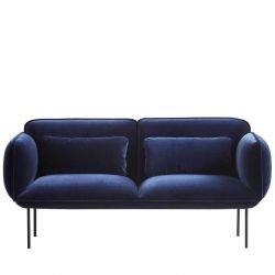 Canapé 2 places velours bleu nuit NAKKI Woud