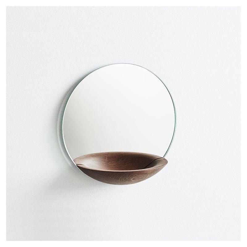 Miroir vide-poche POCKET MIRROR Woud, petit modèle en chêne fumé