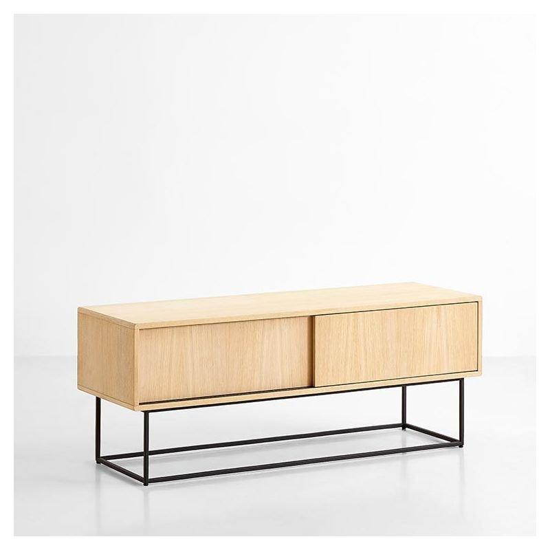 Virka rangement bas woud meuble tv porte coulissante for Meuble bas rangement bureau