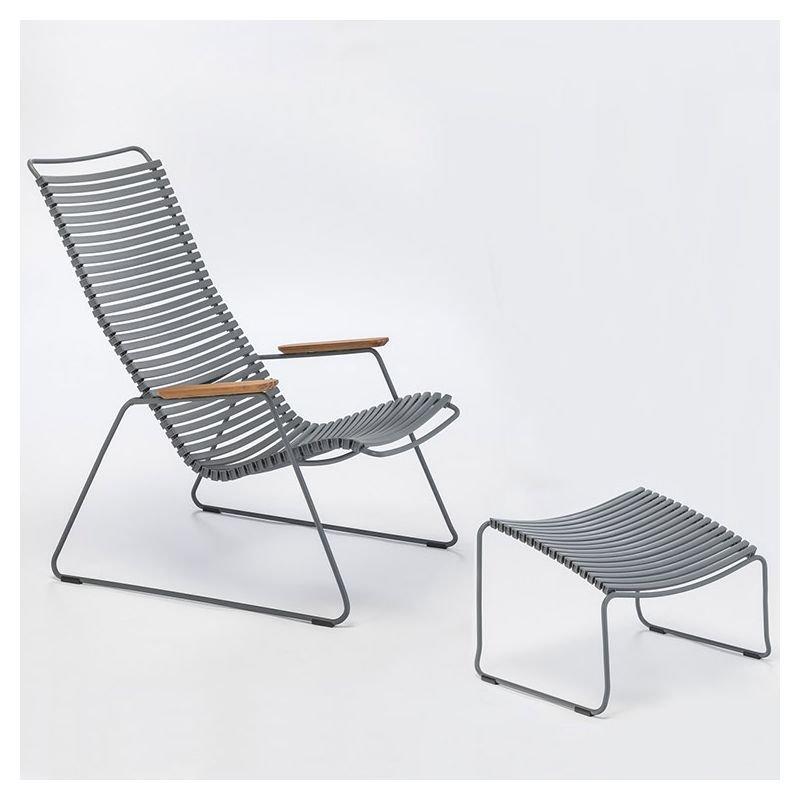 Click chaise longue jardin houe bambou r sine for Chaise longue avec repose pied