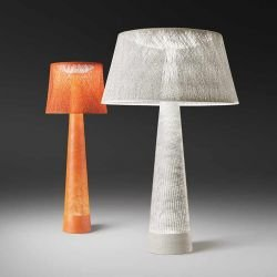 Lampes de sol outdoor WIND Vibia, coloris orange et blanc