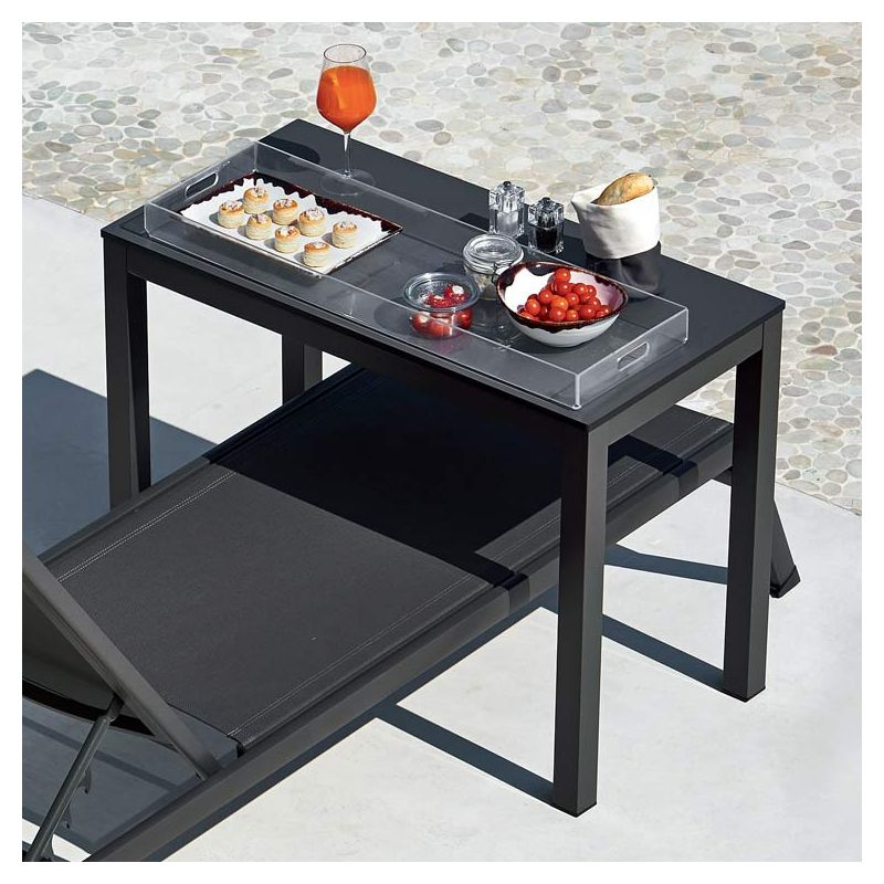 Table pont ELEMENT Varaschin, modèle gris, plateau anthracite chant noir