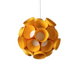 Suspension LED DANDELION LZF, finition hêtre jaune