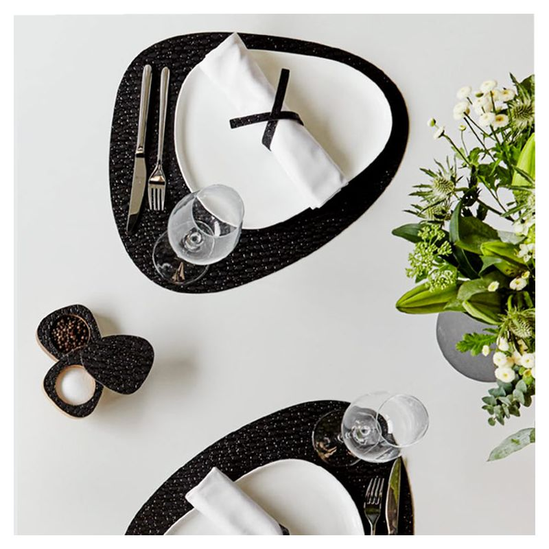 Set de table cuir recyclé Lace noir CURVE L Lind DNA