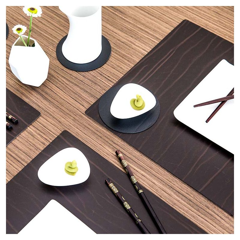 Set de table cuir recyclé Buffalo brun SQUARE L Lind DNA