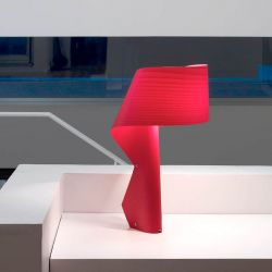 Lampe de table design AIR LZF, finition hêtre rouge