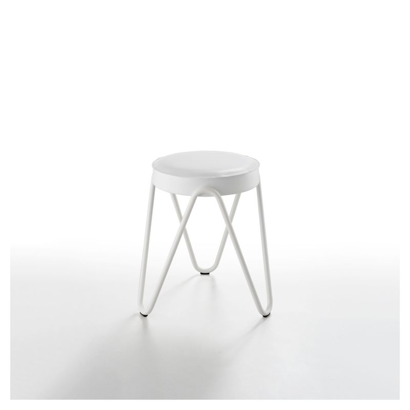 Tabouret APELLE JUMP H45 Midj, pieds blancs, blanc U05