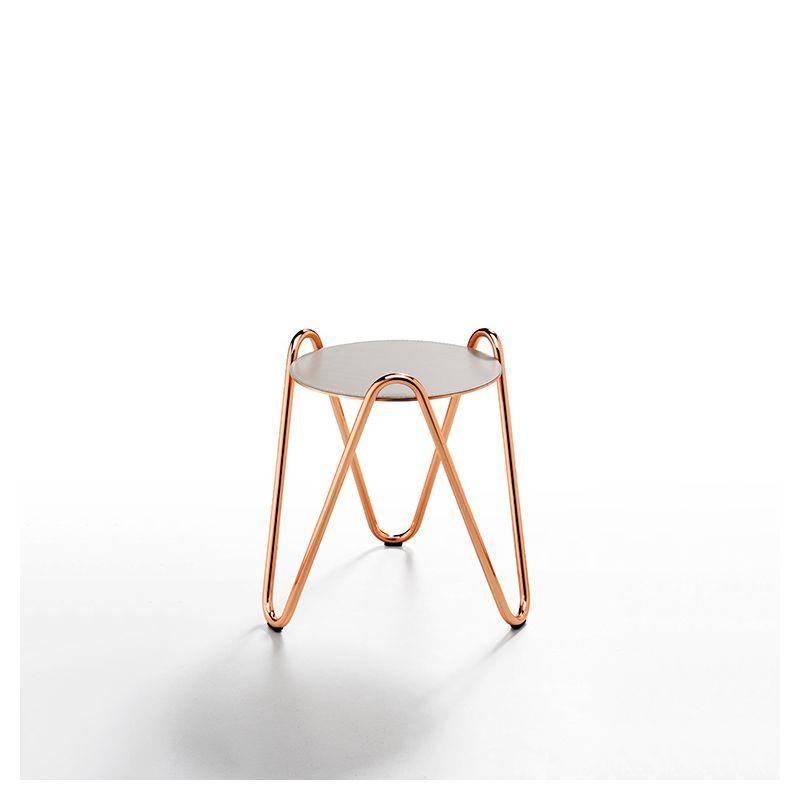 Table d'appoint APELLE CHIC Midj, hauteur 43 cm, pieds or rose, gris cendre U18