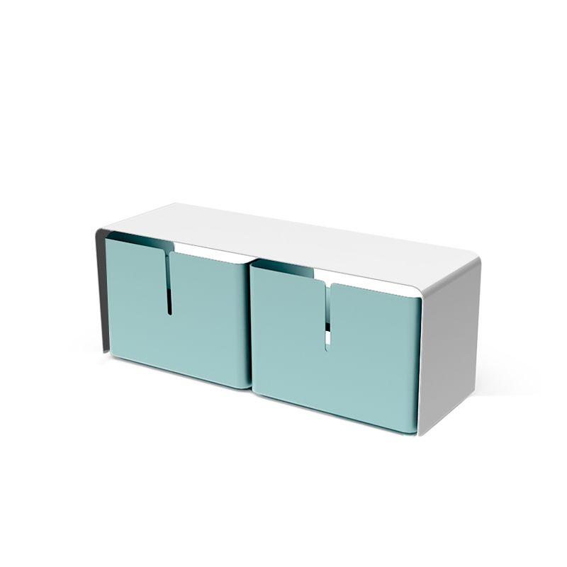 Meuble TV BARBER 2 tiroirs Matière Grise, blanc et céladon
