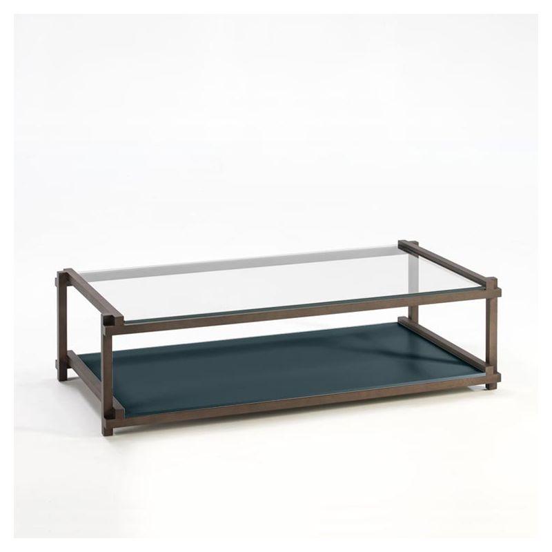 Table basse rectangulaire hêtre massif toasté NUC Kendo, laquée océan