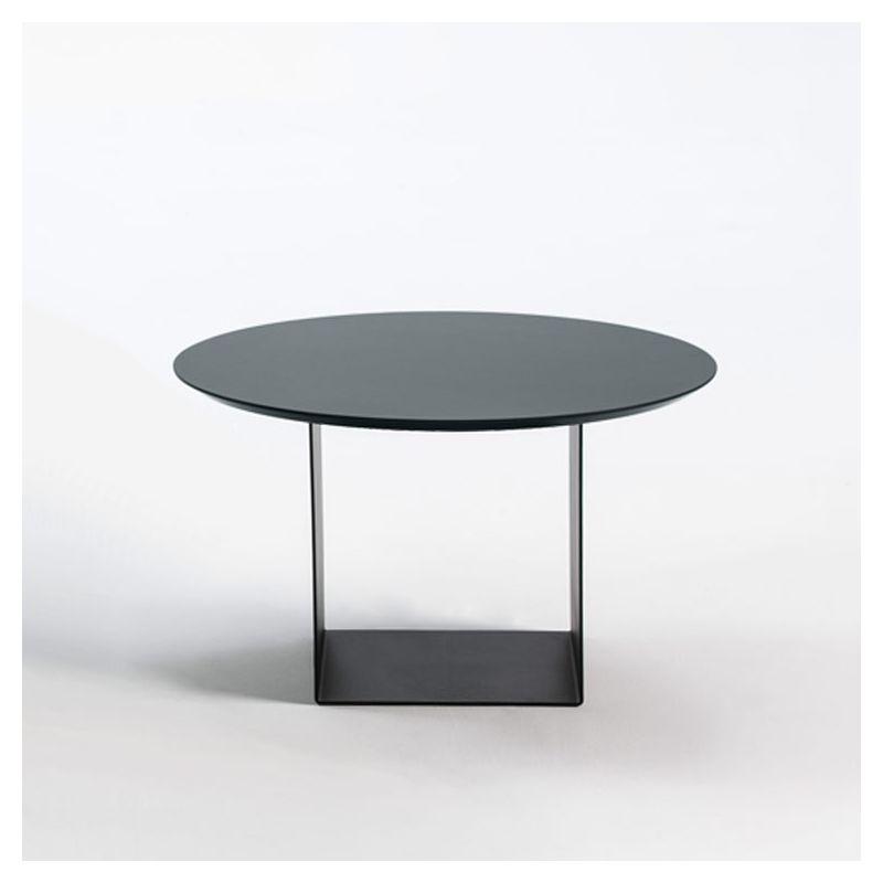 Table basse noire Ø 70 cm REFLEX Kendo, plateau brouillard