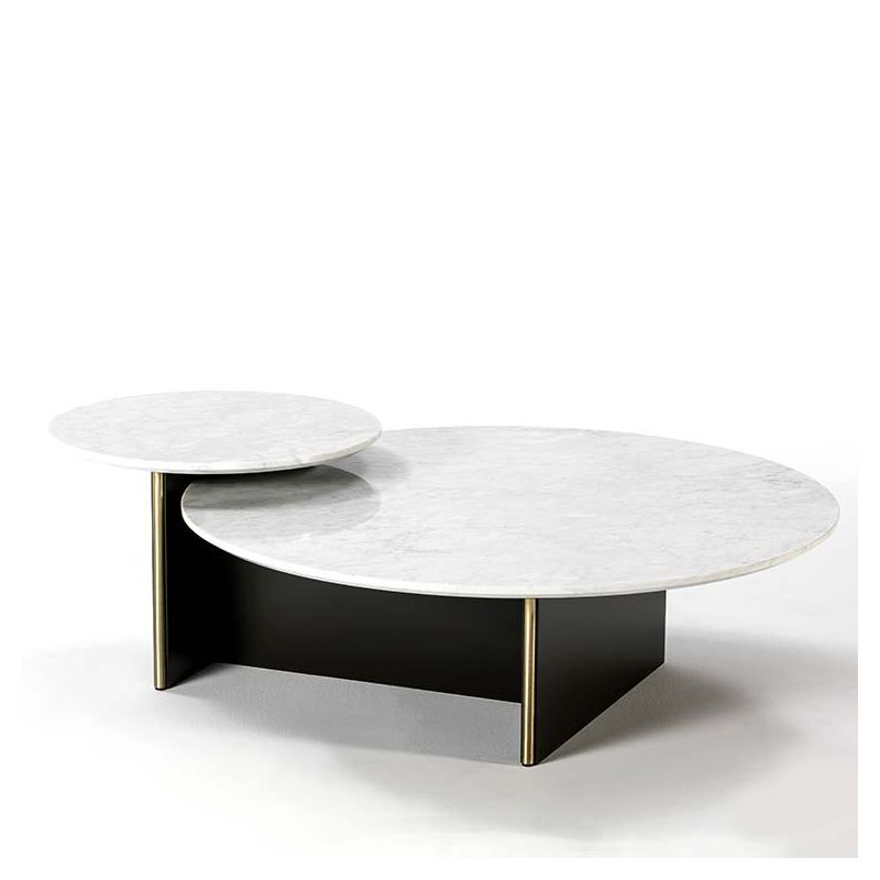Table basse double ANT Kendo en marbre blanc