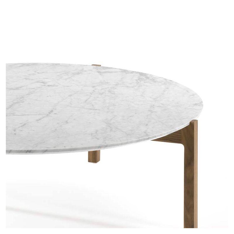Lotta Table Basse Ronde Kendo Design Noyer Marbre