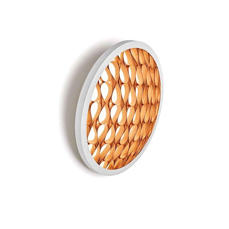 Applique LED blanche CERVANTES LZF, finition cerisier naturel, allumée