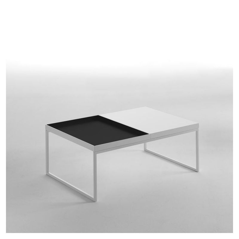 Table basse TRAY 80 cm Kendo, structure blanche, plateau ardoise