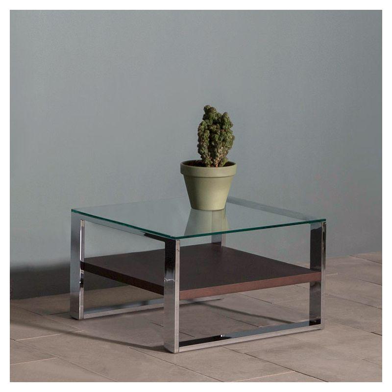 Table d'appoint SOLEO Kendo, pieds chromés, tablette chêne toasté