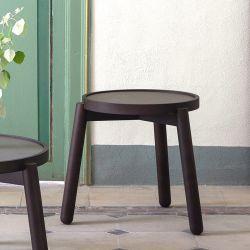Table basse Ø 40 VAN Kendo, hêtre toasté et céramique noire