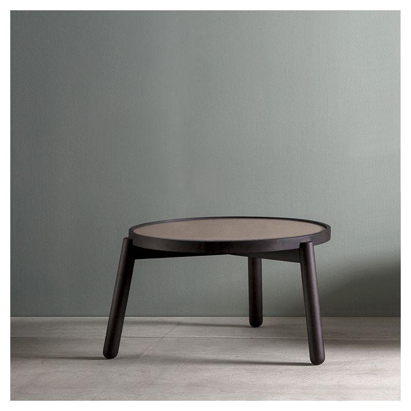Table basse Ø  60 x h 37 VAN Kendo, hêtre toasté et céramique camel