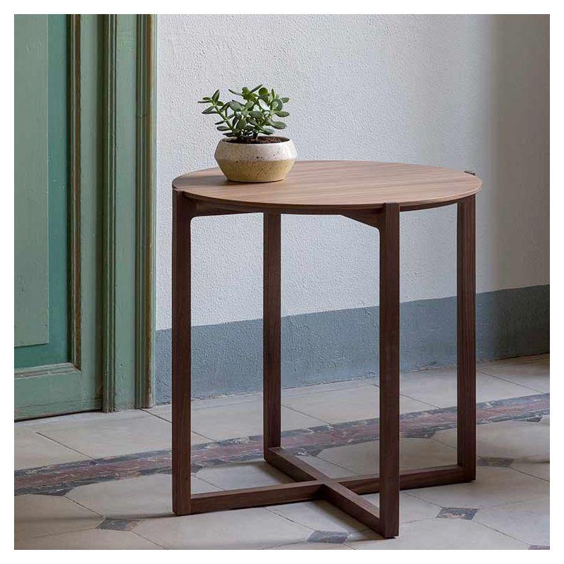 Table d'appoint ronde h 65 LOTTA Kendo, hêtre toasté, plateau hêtre naturel