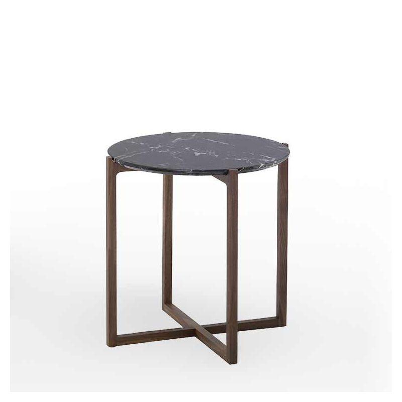 Table d'appoint ronde h 55 LOTTA Kendon en noyer massif, plateau marbre noir