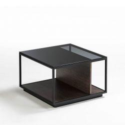 Table d'appoint carrée RITA h 40 cm Kendo, finition laquée ardoise