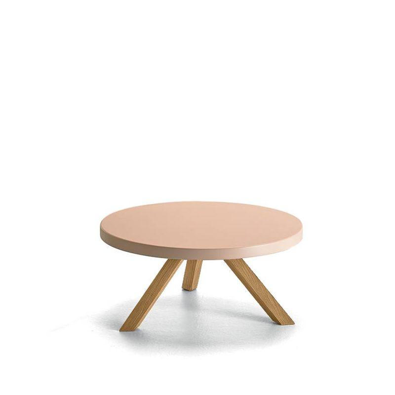 Table basse ronde chêne massif super mat FLAK Punt, plateau rose