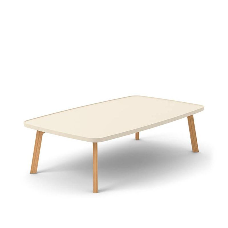 Table basse rectangulaire crème BREDA Punt en chêne massif super mat