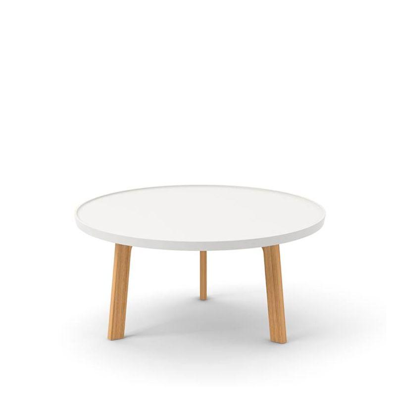 Table basse ronde blanche BREDA Punt pieds chêne massif super mat