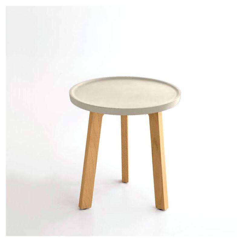 Table d'appoint crème BREDA Punt, pieds chêne massif super mat