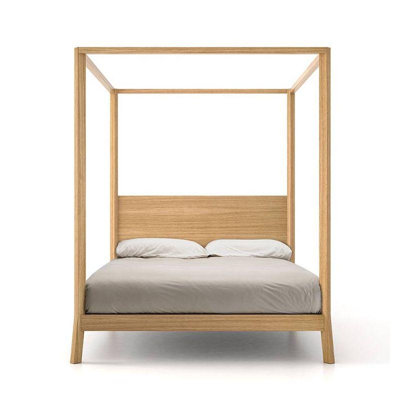 Lit queen size à baldaquin contemporain en chêne massif super mat BREDA Punt, tête de lit chêne super mat
