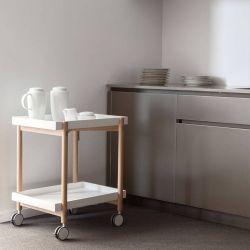 Table roulante desserte MAI TAI Punt blanche et chêne super mat