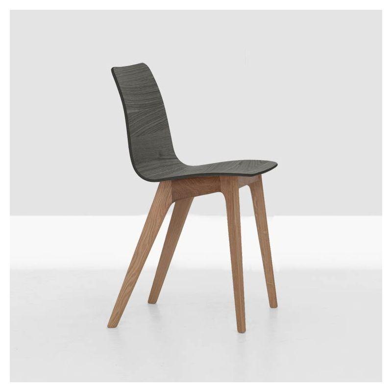 Chaise bicolore chêne massif MORPH Zeitraum, assise chêne teinté gris graphite