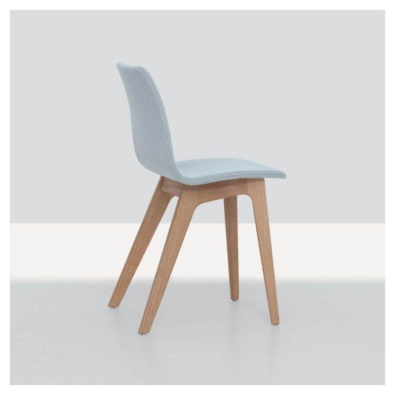 Chaise chêne massif rembourrée tissu bleu dragée MORPH Zeitraum
