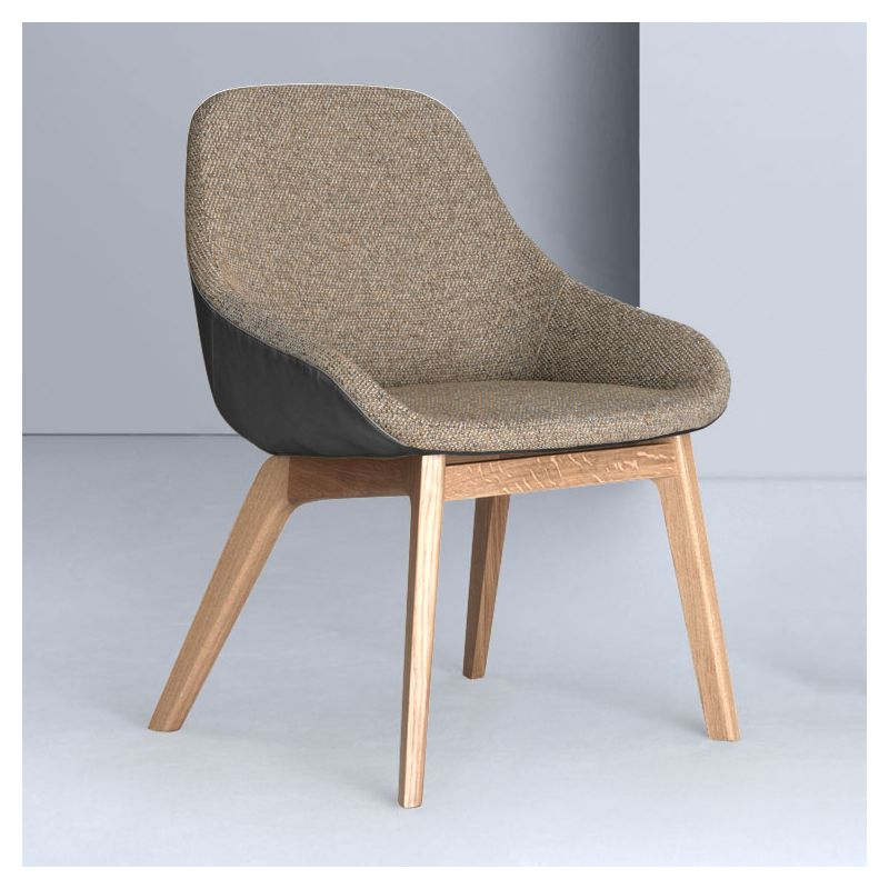 Fauteuil design chêne massif MORPH DINING Zeitraum, tissu grège medina  431 & cuir asphalte