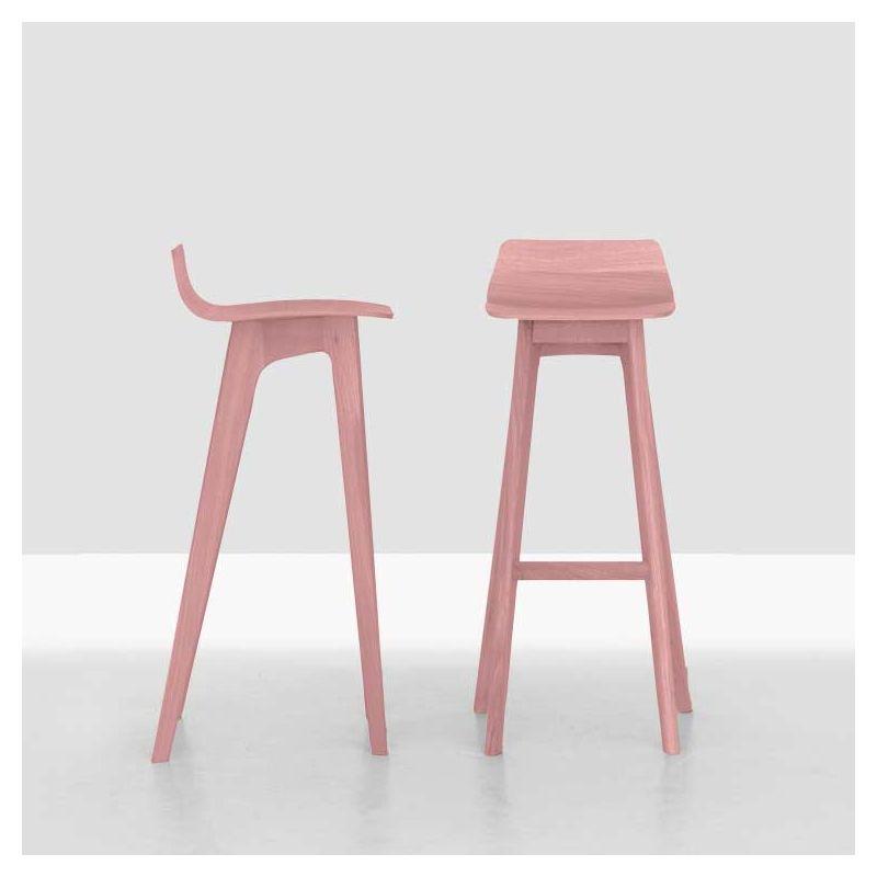 Tabouret de bar design MORPH BAR Zeitraum, chêne massif teinté rose pastel