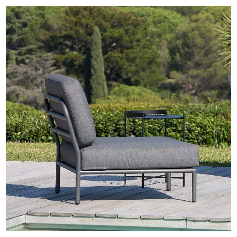 Level, fauteuil salon de jardin Houe rembourré gris