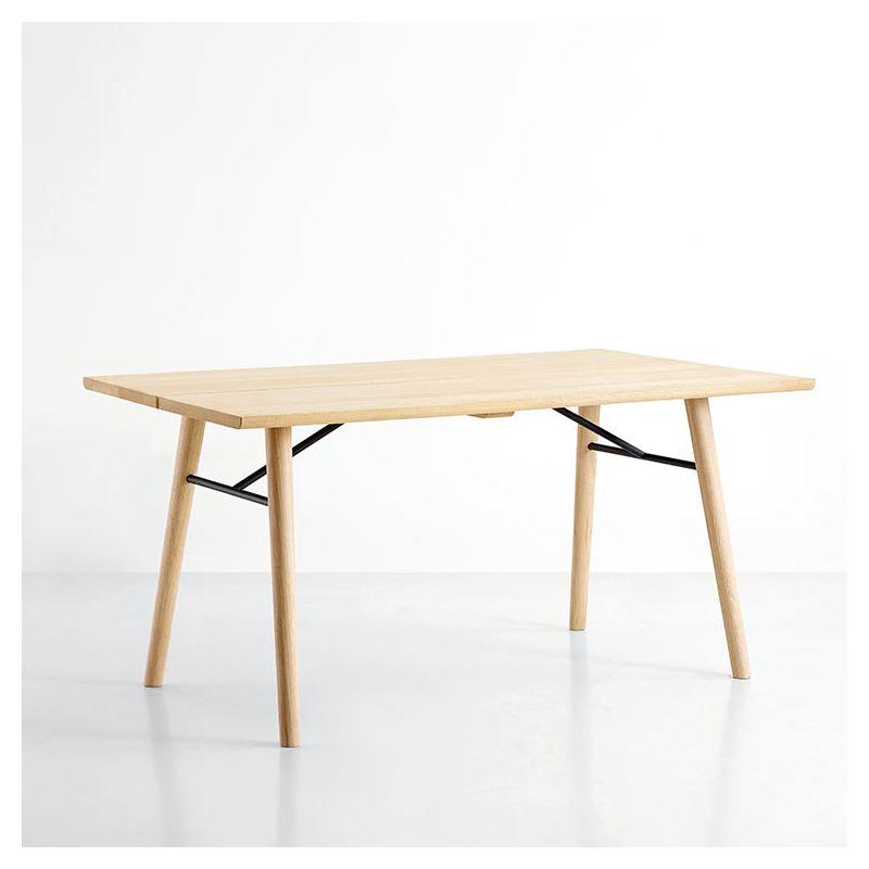 Table design rectangulaire longueur 180 cm ALLEY Woud, plateau chêne naturel, pieds chêne naturel