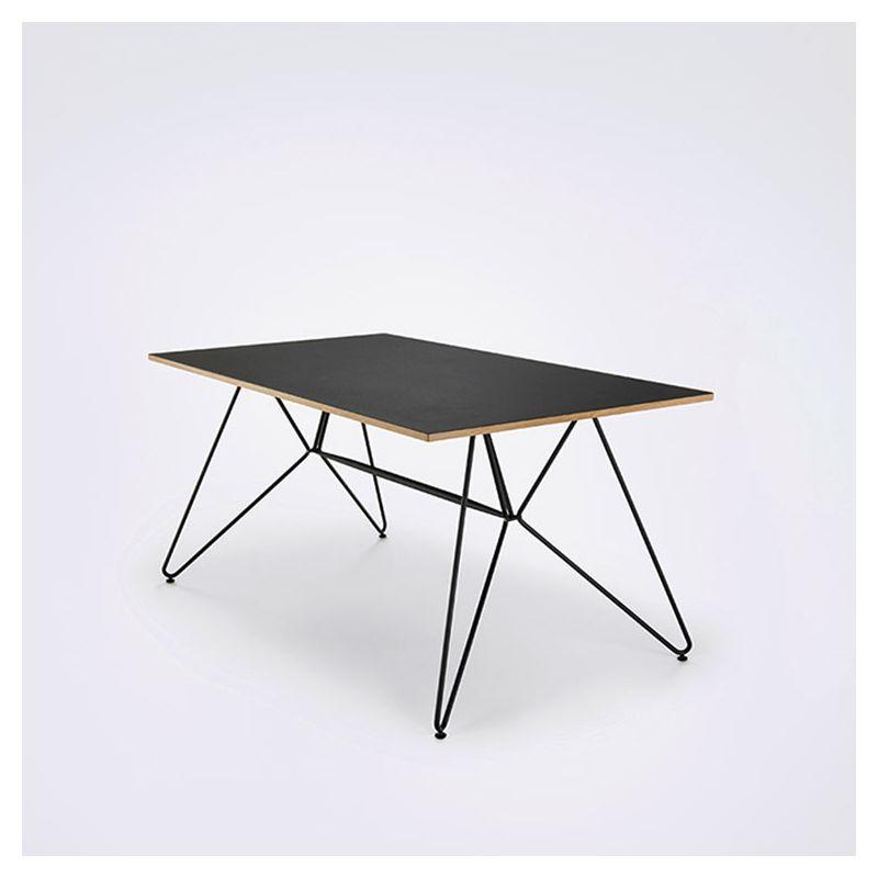 Table design 168 cm en métal, plateau linoléum SKETCH Houe