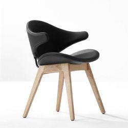 Fauteuil design chêne massif & cuir noir ACURA Houe