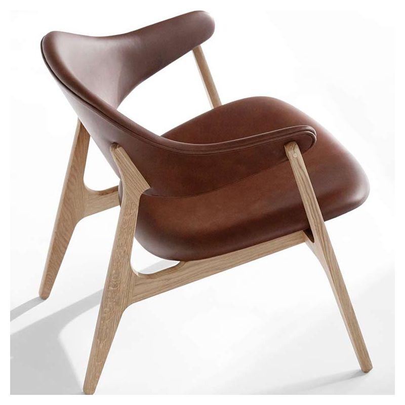 Spän, fauteuil salon bois massif Houe cuir rembourré